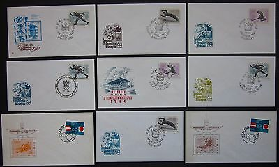INNSBRUCK OLYMPISCHE WINTERSPIELE 1964 9 bags first day FDC olympics winter
