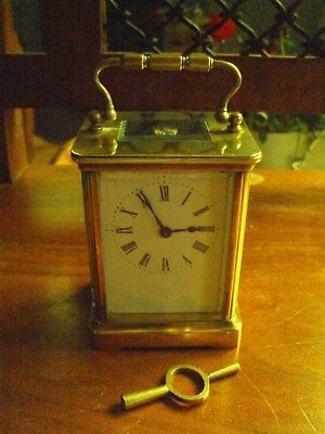 Vintage Brass 8 Day Carriage Clock  With Key (Working Order)
