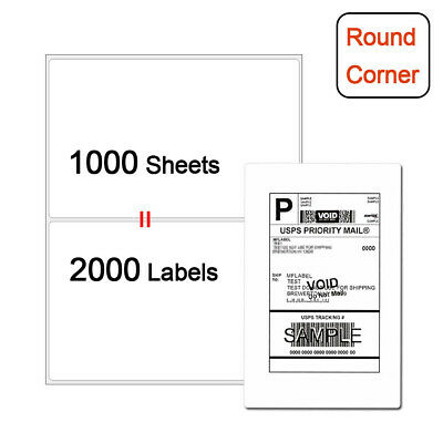 Premium Half Sheet 2000 Shipping Postage Labels 8.5x5.5 Blank For USPS Paypal