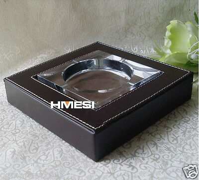 Fashion Simple L18.5CM*W18.5CM*H3.8CM Pure Brown Leather Base Crystal Ashtray