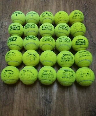 25 Used Tennis Balls,mainly Slazenger/Dunlop Variety,Great Dog Toys!!