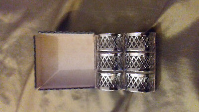 6 Vintage Napkin Rings Silver Coloured Pierced Metal Design boxed