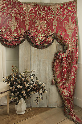Antique French damask lambrequin valance textile silk passementerie c 1860