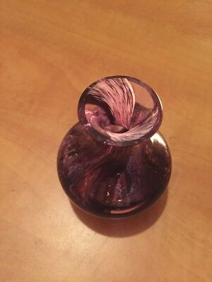 Vintage Purple With Mottled/ Swirls Caithness Small Glass Vase