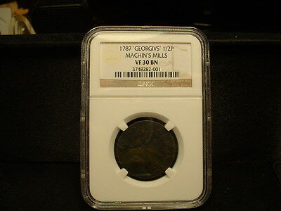 1787 Machin`s Mill 1/2 Penny Ngc-Vf-30 Scarce Colonial Coin-Small Date & Berries