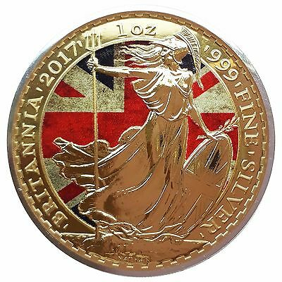 1 oz Silver Britannia UK Flag Colorized Colored and 24k Gold Gilded + Box, CoA