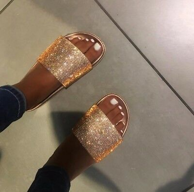 New Womens Rosegold Diamante Comfy Rubber Slider Flats Shoes Slides Slippers