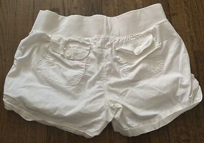 Women's Duo Maternity L White Shorts Stretchy Spandex Waist Large