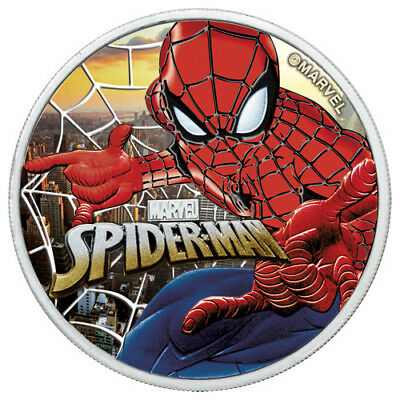 1 oz Silver 2017 SPIDERMAN Colorized Sunset City Coin with Box and CoA