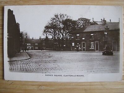 Old RPPC Barnes Square CLAYTON-LE-MOORS Lancs real photo postcard