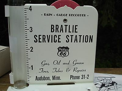 Vintage Phillips 66 Advertising Rain Gauge New with Box