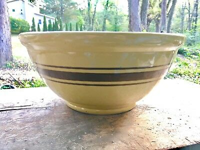 Huge Antique Yelloware Mixing Bowl 15 1/2""