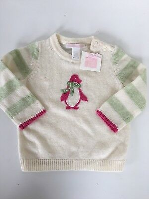 Janie And Jack Baby Girls Penguin Long Sleeve Sweater 6-12 Months NWT