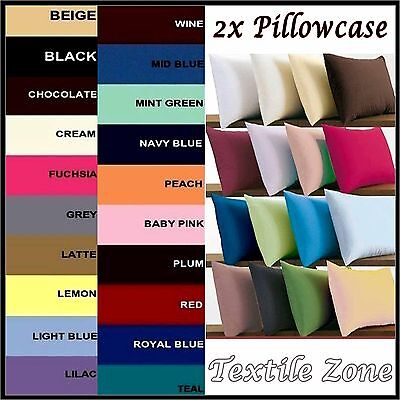 2 x Luxury Plain Dyed 68 Pick Poly-Cotton Housewife Pillow Case Cases Pair Pack