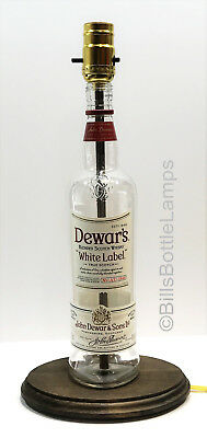 Dewar's White Label Scotch Whiskey Liquor Bottle TABLE LAMP LIGHT with Wood Base