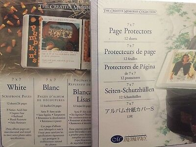 NIP Creative Memories 7x7 White Scrapbook Pages with Protectors