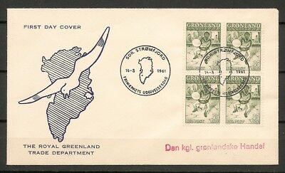 "GREENLAND -1961  FDC ""Drum Dance"", 35 ore in Block of 4 -Facit 46"