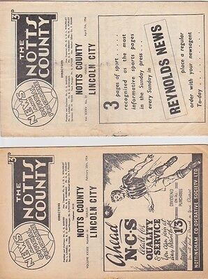 Notts County v Lincoln City 1953/4 and 1955/6 2 programmes