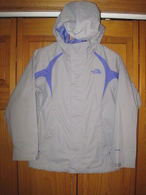 The North Face HyVent waterproof rain jacket girls M gray purple camping hiking