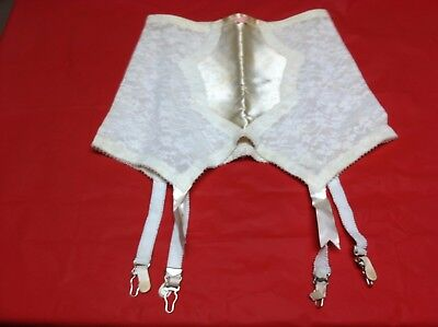 Vintage Ladies Lingerie Girdle Open Bottom with Garters White Pink Bow Lace