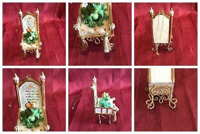 """Unbranded Kiss A Lot Of Frogs Crown Prince Throne Resin Christmas Ornament 4"""""""