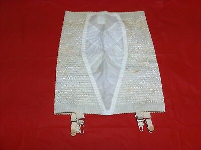Vintage Ladies Lingerie Girdle Open Bottom with Garters White Size Large