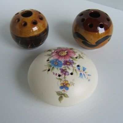 Potpourri Holders - Axe Vale Pottery & Unbranded 2 x Round Brown Glazed Pottery