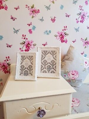 Set Of 2 Shabby Chic White Ornate Photo Picture Frames