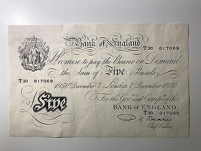 BANK OF ENGLAND 1950 Beale White Five Pound Note. T30 serial number