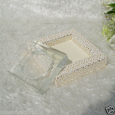 Fashion L19CM*W19CM*H4CM White Carving Patterns Leather Base Crystal Ashtrayy