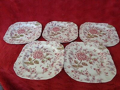 5 Assiettes  A Dessert Rose Chintz De Johnson Brothers