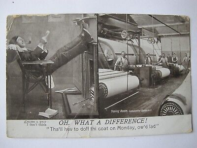Old 1911 Greetings postcard Lancashire Cotton Mill