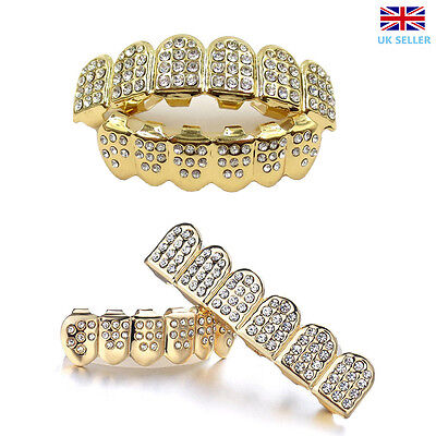 Top Bottom Diamante Grill Set 14Kt Gold Plated Custom Molds Teeth Hip Hop Mouth