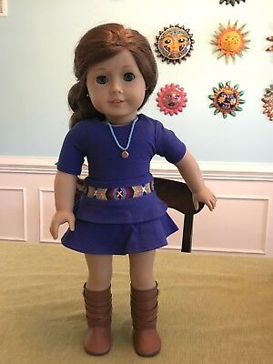 American Girl Saige, GOTY in Meet Outfit With Boots and bonus necklace! AG
