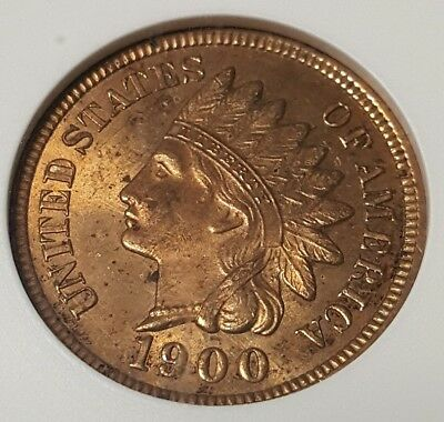 1900 Indian Head Cent Anacs Ogh Ms62 Rb