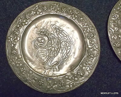 GOTHIC REPOUSSE CHARGERS - PAIR  ARTS and CRAFTS HAND CHASED
