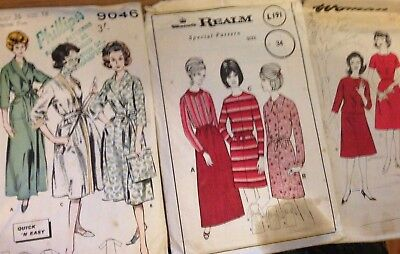 Lot of 3 1960's ladies sewing patterns