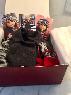 American Girl Nellie Winter Coat Set Holiday New In Burgundy Box Cards. Mitten H