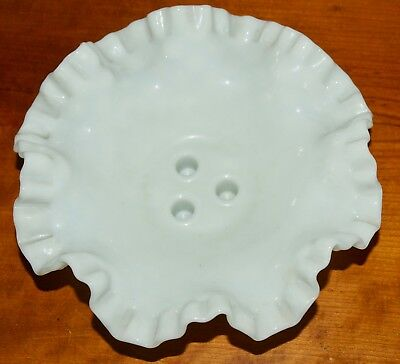 "Milk Glass Replacement Espergne Hobnail Ruffled Vase BASE 8"" Diameter"