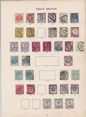 Great Britain windsor album page 1887-1910 stamps  ref 10675