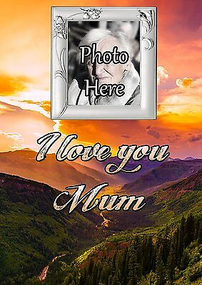 Personalised Photo Mum Graveside Memorial Card with Free Ground Stake F32
