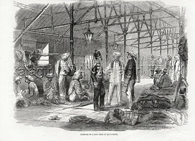 CHINA Chinese Architecture, Huge Mat Shed Building, Antique 1850s Print