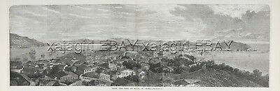 China Macau Macao City Port, Huge Double 1860s Antique Panoramic Engraving Print