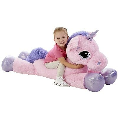 "Animal Alley Pink Unicorn Soft Toy, 45"" Plush Cuddly Toy"