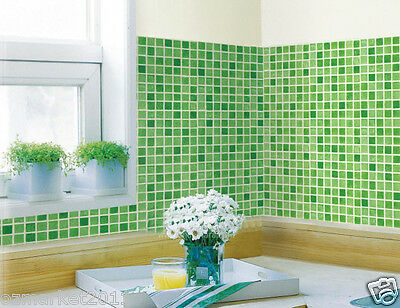 Green Mosaic Grid Modern Customized Waterproof Environmental Oil-proof Wallpaper