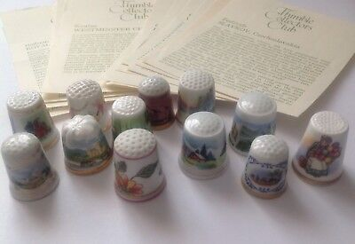 Collection of 12 Thimbles Thimble Collectors Club Royal Doulton Vale Westminster