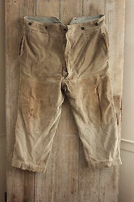 Antique French corduroy pants Trousers TIMEWORN late 1800's MENDS repairs old