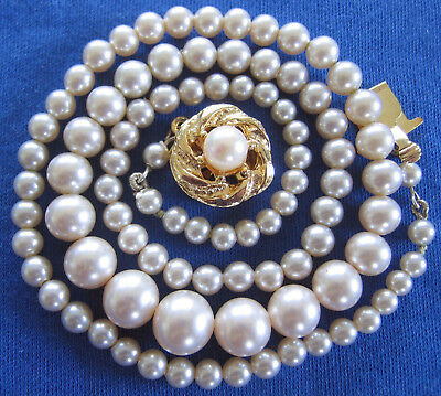 Pretty Vintage 1950's /60's Glass Pearl Beads Necklace Lovely Goldtone Clasp