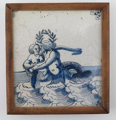 Rare Delft tile with mermaid and merrnan embracing