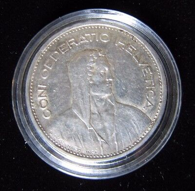 Switzerland 1939B 5 Francs Silver VF+ Coin Confoederatio Helvetica William Tell